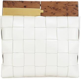 Bottega Veneta Fold-Over Wood Top Snap Clutch Bag