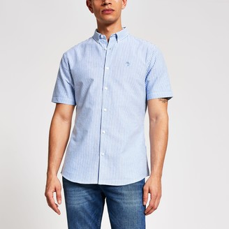 River Island Mens Maison Riviera Blue stripe slim fit shirt