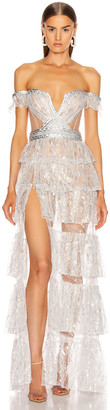 Aadnevik French Lace Layered Gown in Silver Iridescent | FWRD