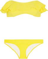 Lisa Marie Fernandez Natalie Flounce Ruffled Crepe Bandeau Bikini - Bright yellow