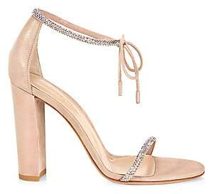 Gianvito Rossi Women's Ankle-Tie Crystal-Embellished Iridescent Suede Sandals