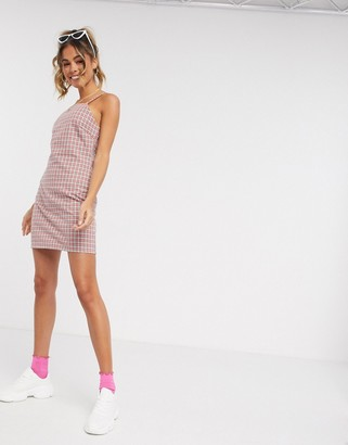 Heartbreak square neck tailored cami dress in pink and gray check