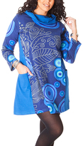 Aller Simplement Blue Abstract Henna Cowl Neck Shift Dress - Plus