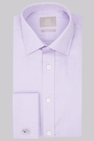 Savoy Taylors Guild Regular Fit Lilac Double Cuff Textured Shirt