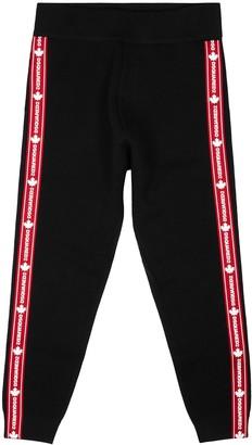 DSQUARED2 Black logo stretch-wool sweatpants