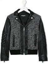 DSQUARED2 herringbone and faux leather bomber jacket - kids - Cotton/Acrylic/Nylon/other fibers - 10 yrs