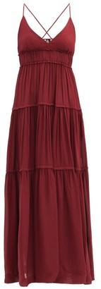 Three Graces London Chloe Tiered Maxi Dress - Dark Red