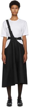 Junya Watanabe Black Wool Herringbone One-Strap Suspender Skirt