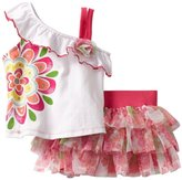Nannette Baby-girls Infant 2 Piece Knit Top and Divided Skirt Set