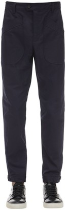Lanvin 14.5cm Slim Cotton Pants W/ Button Hem