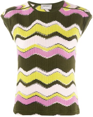 Missoni Pre Owned 1990s knitted zig-zag T-shirt