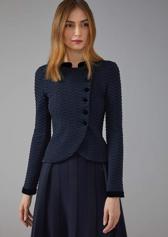 Giorgio Armani Chevron Stitch Asymmetric Jacket With Velvet Detail