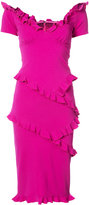 Nicole Miller pleated trim fitted dress - women - Nylon/Spandex/Elastane/Viscose - 2