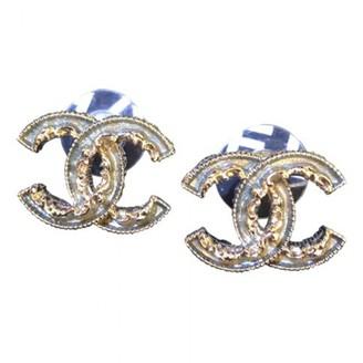 Chanel CC Khaki Metal Earrings