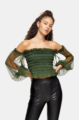 Lace & Beads Womens **Rolf Olive Bardot Mesh Top By Green