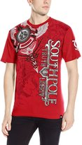 Southpole Men's High Definition Foil and Print Tee with Asymmetric Vertical Logo