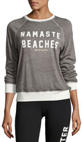 Spiritual Gangster Namaste Beaches Boyfriend Sweatshirt, Gray