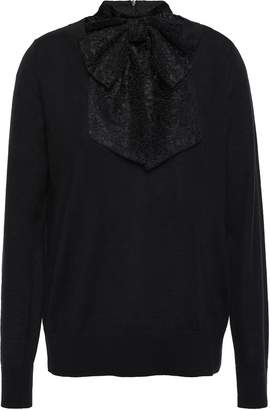 Sandro Bow-detailed Wool-blend Lace Sweater