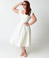 Stop Staring Plus Size Mad Style Ivory Cap Sleeve Swing Dress