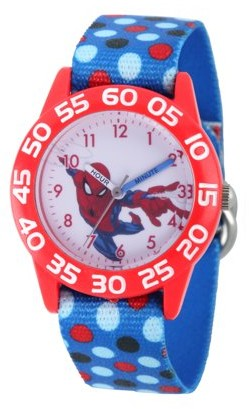 Marvel Spider-Man Boys' Red Plastic Time Teacher Watch, Blue Nylon Strap With Printed Dot