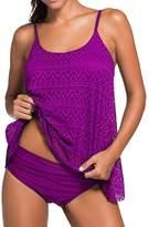 Imbry Women's 2 Pieces Lace Tankini Swimsuit Set Plus Size (L, )