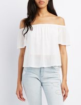 Charlotte Russe Mesh Off-The-Shoulder Top