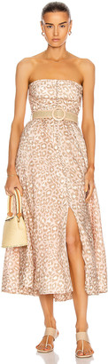 Zimmermann Carnaby Bustier Midi Dress in Pink Leopard | FWRD