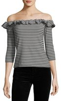 English Factory Striped Off-the-Shoulder Top