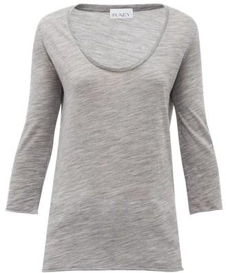 Raey Scoop-neck Wool-jersey T-shirt - Womens - Grey