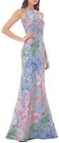Carmen Marc Valvo Sleeveless Brocade Gown