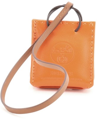 Hermes Orange Shopping Bag Charm Milo Lambskin and Swift