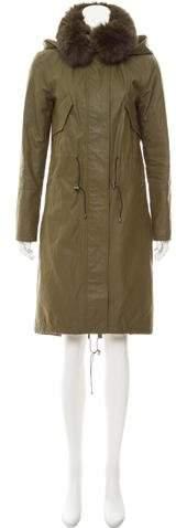 Alice + Olivia Hooded Fur-Trimmed Coat