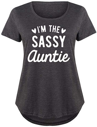 Instant Message Plus Women's Tee Shirts HEATHER - Heather Charcoal 'I'm the Sassy Auntie' Scoop Neck Tee - Plus