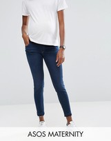 Asos Ridley Skinny Jeans In James Dark Wash with Let Down Hem With Under The Bump Waistband
