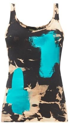 Germanier - Metallic Brush-stroke Cotton-jersey Tank Top - Black Multi