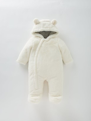 Very Baby Unisex Faux Fur Cuddle Suit - Ivory