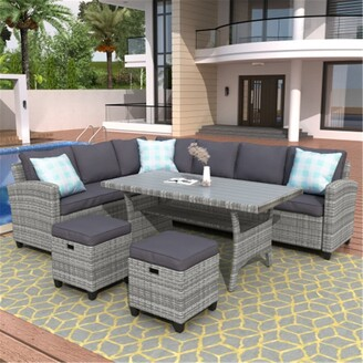 Direct Wicker 5 Piece Outdoor Wicker Sectional Sofa Couch Dining Table Chair with Ottoman and Throw Pillows