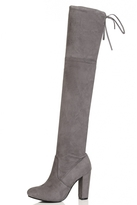Quiz Grey Faux Suede Block Heel Over The Knee Boots