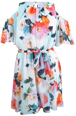 Calvin Klein Women's Printed Chiffon Pop Over Dress