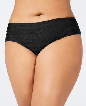 Becca Etc Plus Size Crochet Side-Tab Bikini Bottoms Women's Swimsuit