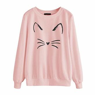 Rikay Women Hoodies Rikay Womens Cat Print Ladies Long Sleeves Crew Neckline Sweatshirt Jumper Top Pullover Hooded Sweat Size 8-18 Dark Gray