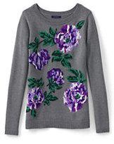 Lands' End Women's Petite Cotton Intarsia Sweater-Purple Beet Roses