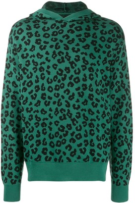 Just Don Leopard Print Knit Hoodie