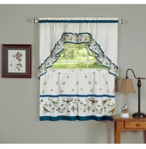 Achim Love Birds Printed Tier and Swag Window Curtain Set, 57x24