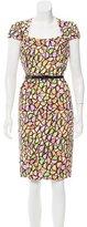 David Meister Belt-Accented Printed Dress