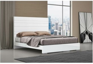 Orren Ellis Barcroft Solid Wood and Upholstered Platform Bed Size: King, Frame Color: White, Headboard Color: White