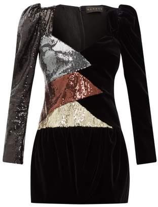 Dundas Puff-sleeve Sequinned Velvet Mini Dress - Womens - Black Multi