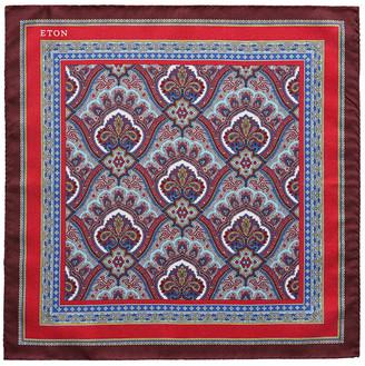 Eton Men's Silk Paisley Pocket Square, Red