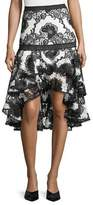 Alexis Halima Monochrome Lace High-Low Flared Skirt