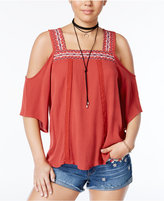 Almost Famous Crave Fame Juniors' Embroidered Cold-Shoulder Top